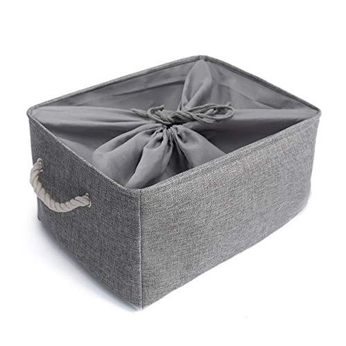 Mangata Zusammenklappbare, Verdickte Aufbewahrungsbox aus Leinen mit Seilgriffen (Grau, XXLarge) (Spielzeug Box Storage)