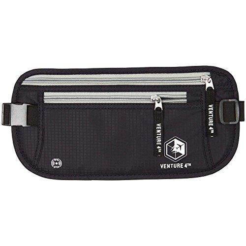 Portafoglio Cintura Portadenaro clandestino Marsupio Pouch Bag Protegge contanti Cards passaporto Biglietti mobile (Black)