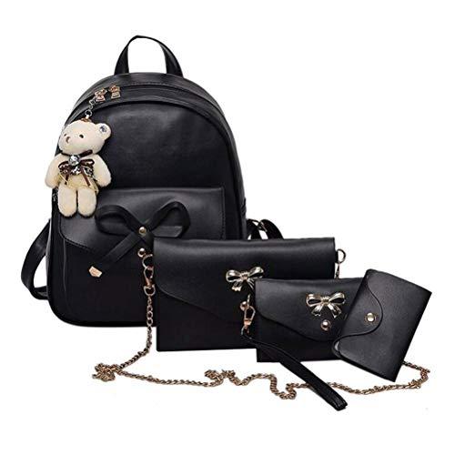 Zaino da donna set pu pelle elegant daypack borsa a tracolla 4 in 1 piccolo zaino set zaino, borsa a tracolla, borsa a mano, porta carte, nero (nero) - fa1121961_bk-605-1710308951