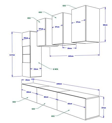 FUTURE 4 Zeitnah Wohnwand Wohnzimmer Möbelset, Anbauwand Schrankwand Möbel Set, Exklusive Unterhaltungseinheit Mit Regalen, Neue Suite, TV-Ständer / Schrank / Regal, Drücken Sie auf Öffnen / Standardgriff Wandschränke, Matte / Hochglanz, Schwarz / Weiß / Mehr Farben, Gratisversand (RGB LED Beleuchtung Vorhanden) (Schwarz MAT base / Schwarz HG front, RGB fernbedienung) - 2
