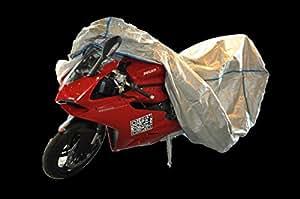 garage de moto- housse de moto DUCATI 748 - 748 R - 748 S - 748 SP - 748 SPS avec Topcase excl. de TYVEK couleur argent - avec un sac