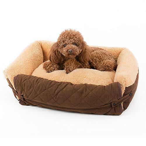 DYEWD Caseta para Mascotas Desmontable y Lavable con Forma de sofá y Nido para Mascotas,con Alfombra para Mascotas,Suave y cómoda para Mantener Caliente,Multiuso,marrón,65 * 50 * 18 cm