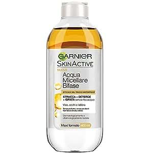 Garnier Acqua Micellare Bifase Struccante Occhi, Viso e Labbra, Efficace sul Trucco Waterproof, 400 ml