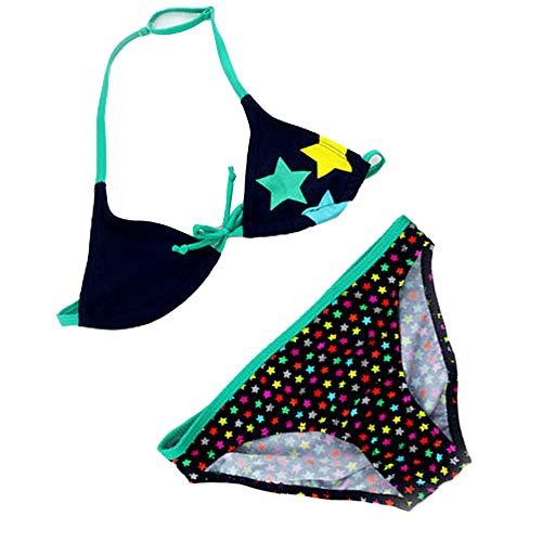 IPBEN Badeanzug Mädchen, Schlinge Bikinis für Kindere Zweiteiliger Quaste Badekleidung Schwimmanzug Bikini Sets (140, grüne Sterne)