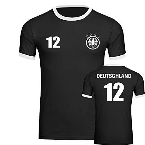 T-Shirt Deutschland Adler Retro Trikot mit Zahl 12 Herren schwarz/weiß Gr. S-3XL - Fanshirt Fanartikel Fanshop Fußball WM EM Germany, Größe:XL