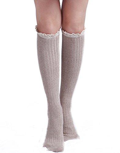 HDE Damen Western Cowgirl Fashion Knie Hohe Crochet Spitze Rüschen Knit Stiefelsocken, Beige - Dan Post-boot-socken