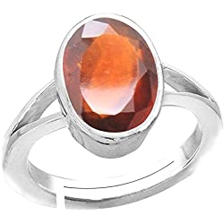 Accurate Traders Natural Gomed Stone Silver Adjustable Ring 7 Ratti (6.4 carats) Rashi Ratna Origional and Certified by GEMOLOGICAL LABORATORY OF INDIA (GLI) Hessonite Garnet Precious Gemstone Chandi Free Size Anguthi Unheated and Untreated Top Quality Gems for Astrological Purpose by Accurate Traders