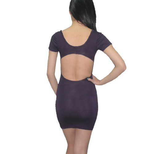 Sexy Me Womens Thai Exotic Stretchy Fit Cut-Out Clubwear Mini Dress purple