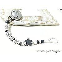 Schnullerkette mit Namen - Kleiner Prinz - Stern - Junge - silber - grau - weiß - B005