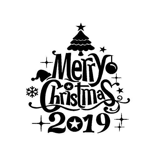 2019 anno nuovo merry christmas wall sticker casa negozio windows decalcomanie decor-merry tree campane stickers home decor soggiorno store window cartoon parete in pvc arte nuovo dono (nero, 38 x 40cm)