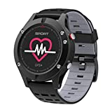 WCPZJS Pulsmesser GPS Multi-Sport Mode OLED Höhenmesser Bluetooth Fitness Tracker IP67 Rand F5 Smart Uhr