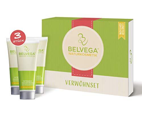 BELVEGA Verwöhnset Intensivpflege Limited Edition Handcreme Geschenkset für Frauen und Männer | 100% vegane Kosmetik Box tierversuchsfrei | Manufaktur Naturkosmetik (3x75ml)