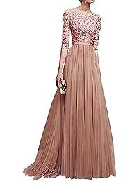 b16c34686d6b Minetom Damen Elegant 3 4 Ärmel Kurzarm Brautjungfern Kleid Floral Spitzen  Abendkleid Dress Maxikleid Lang