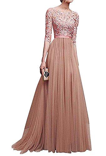 Minetom Damen Elegant 3/4 Ärmel Kurzarm Brautjungfern Kleid Floral Spitzen Abendkleid Dress...