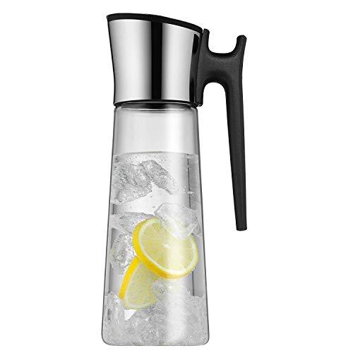 WMF Basic Wasserkaraffe, mit Griff 1,5l, Höhe 31 cm, Glas-Karaffe, Silikondeckekl, CloseUp-Verschluss
