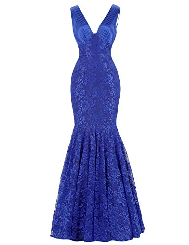 Belle long prom dress starzz senza maniche con scollo a v sirena pizzo di sfera vestito da sera prom st84 blue 42