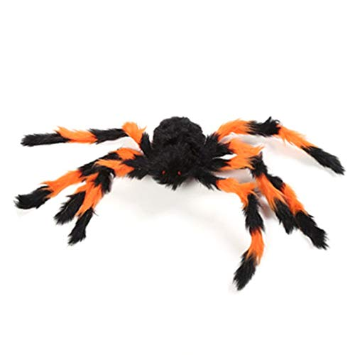 Ballylelly-Dekorationen Requisiten Fake Spinne für Spukhaus Bars Dekorative Versorgung Simulation Scary Plüsch Spiders Tricky Spielzeug (orange & schwarz - 75cm) von Ballylyly