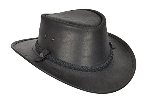 Cowboy Hüte Leder (Authentic Australian Bush Leder Hut Traveller Bac Pac Waxed Steer SCHWARZ Leder Cowboy Hut)