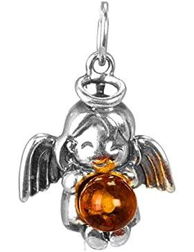 Engel Kette Bernstein Mädchen Anhänger mit Schutz Kinderkette 36cm aus echt 925 Silber und Naturbernstein - Schutzanhänger...