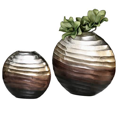 Casablanca Vase Sunrise Aluminium L.39 cm Silber/Champagner/braun BxHxT 39 x 38 x 10