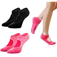 2 Pairs of Women Cotton Non Slip Yoga Socks Barre Socks; Sixe 5-10 in Rose Red and Black Color