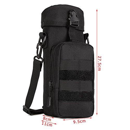 Outdoor Wasser Bottle Pouch Tasche Wasserkocher Trinkflasche Größer Kapazität Outdoor-Klettern Tasche Schwarz
