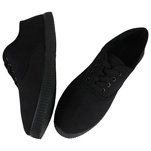 Damen Sneakers Stoff | Sneaker Low Muster | Basic Schuhe Animal Print | Freizeit Turnschuhe Schnürer Schwarz Black