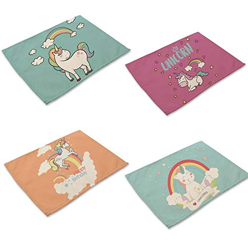 Tovagliette per bambini, con unicorno, antiscivolo, per il tavolo, da pranzo, con isolamento termico, lavabili
