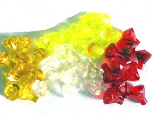 Klar Farbe (LEGO HARRY POTTER - 40 seltene Diamanten Smaragd Rubin - Schatz Diamant in 4 seltenen Farben - tansparent klar, rot, gelb und neongrün)