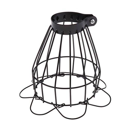 perfk Vintage Käfig Draht Lampenschirm Schutzkorb für Terrarium Lampe Wärmestrahler - Schwarz