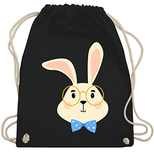 Tiermotive Kind - Süßer Hase mit Brille und Fliege - Unisize - Schwarz - WM110 - Turnbeutel & Gym Bag