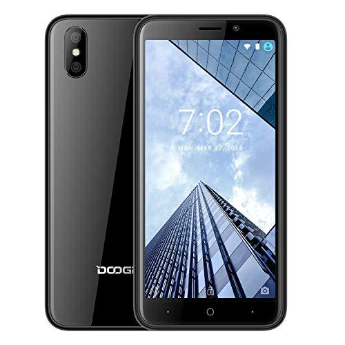 Günstige Smartphone Ohne Vertrag, DOOGEE X50L 4G LTE Android 8.1 OTA/GPS 2000mAh (13,9 cm(5 Zoll Display) Dual Nano SIM, Quad-Core 1GB RAM+16GB ROM (Erweiterbar 64GB), Kamera 5 MP+5 MP+0.3 MP -Schwarz