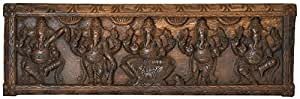 Exotic India Pancha Ganesha Panel - South Indian Temple Wood Carving