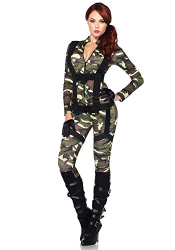 Frauen Fallschirmjäger Kostüm - Damen-Kostüm Leg Avenue - Fallschirmjägerin lang, Größe:M