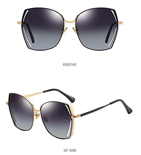 WSKPE Sonnenbrille,Polarisierte Sonnenbrillen Metall Großen Frame Square Fahren Gläser Gradient Graue Linse