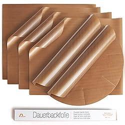 Amazy Dauerbackfolie (6er Set) – Das Premium Backpapier – Wiederverwendbar, hitzebeständig, antihaftbeschichtet und spülmaschinenfest (6er Pack – 4 x eckig, 2 x rund)