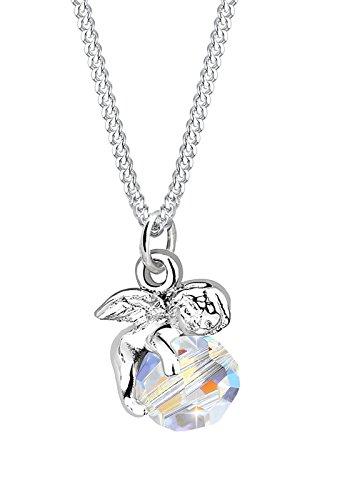 Elli Damen Schmuck Halskette Kette mit Anhänger Engel Kugel Schutzengel Glücksbringer Silber 925 Swarovski® Kristalle Länge 45 cm