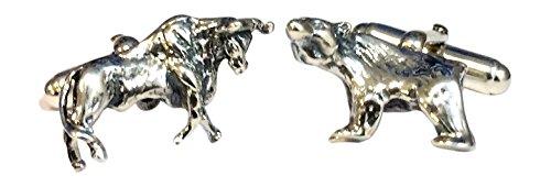 Sterling Silber Manschettenknöpfe, Bulle Und Bär