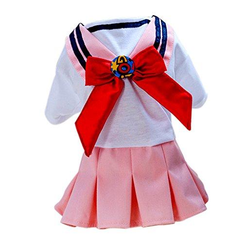 Rosa Kostüm Seemann - SunniMix Baumwollhund Welpen Kleid Kleiner Hund Schuluniform Kostüm Seemann Kleid - Rosa S