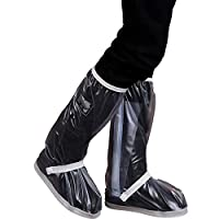 Waterproof Rain Boot Shoe Covers, Bike Shoes Cover, Waterproof Rain Boots Shoes Covers for Women Men-Black Anti Slip Reusable Washable Rain Snow Boots Cover with Reflective Strip-Travel Bike Motorcycl