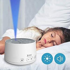 snuutje Einschlafhilfe für Kinder und Erwachsene (Licht-Metronom, Naturklänge oder weißes Rauschen zum schnelleren Einschlafen, mit Timer) weiß