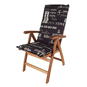pflegeleichtes polster f r hochlehner schwarz gartenstuhl auflage mit haltegurt. Black Bedroom Furniture Sets. Home Design Ideas