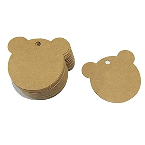 Pack 100pcs 60mmx60mm Bear Shape Shabby Chic Brown Kraft Paper