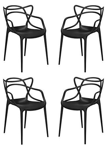 Totò Piccinni Sedie Infinity, Moderne Design impilabile (L)54x(P)55x(A)82 cm (Nero, 4)
