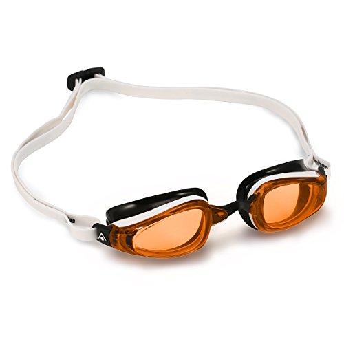 MP (Michael Phelps) K180 Schwimmbrille, Orange Lens-White/Black, Regular Fit