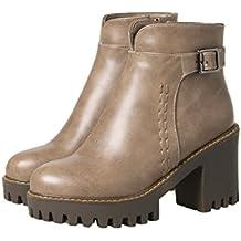 AgeeMi Shoes Donna Puro Luccichio Tacco Alto Punta Tonda Cerniera Stivali