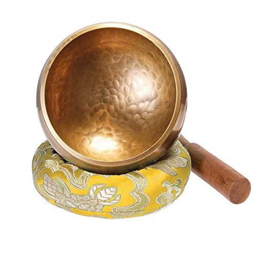 Klangschale 8cm Klangschalen Set klein mit Holz Klöppel und Klangschalenkissen Meditation Klangtherapie Achtsamkeit Aufmerksamkeit - Gelb - Keliti
