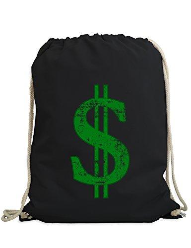 Baddery Turnbeutel: Dollar - Sport-Beutel - Gym-Bag - Tasche - Rucksack - Geschenk - Streetwear Urban Hipster - Party Rave Techno Festival Club - $ - - Rich Girl Kostüm