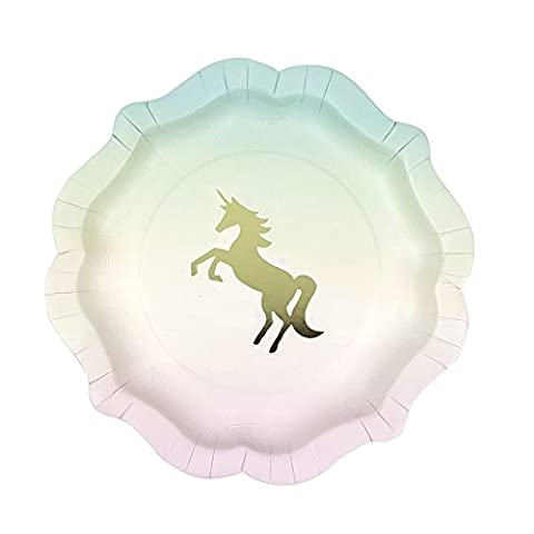 Talking Tables We Heart Unicorns Small Ombre Plates with Gold Foil Detail for a Children's Party or Birthday Part (12 Pack)