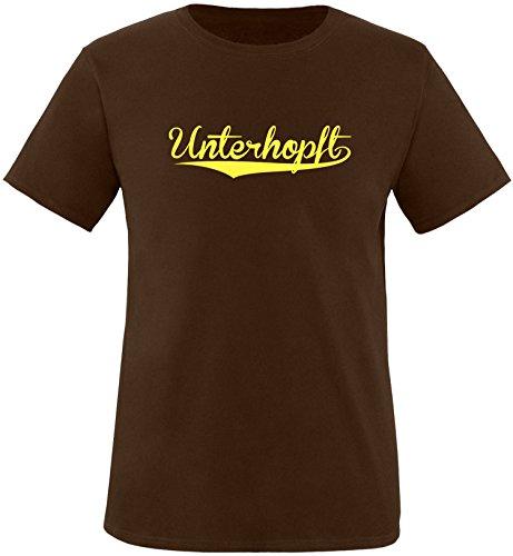 EZYshirt® Unterhopft Herren Rundhals T-Shirt Braun/Gelb